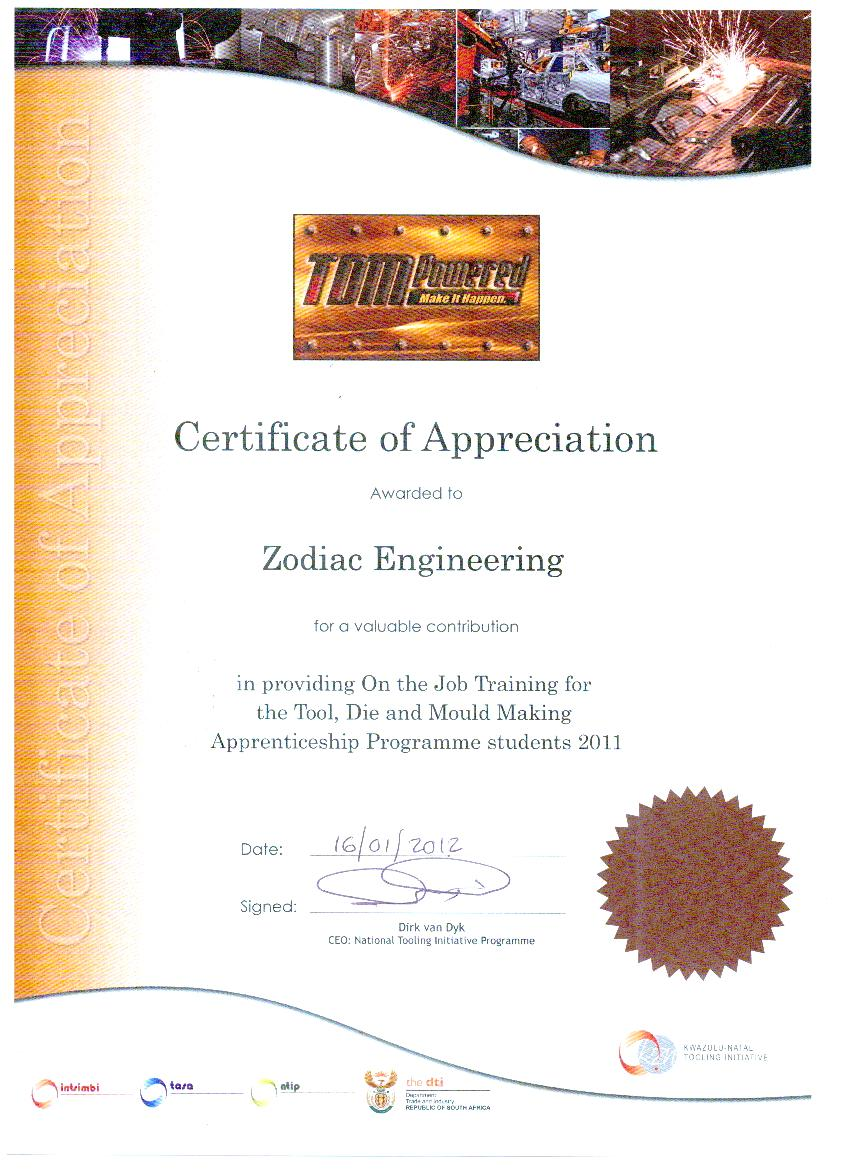 TDM Certificate of Appreciation